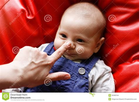 Baby Comfort Nose by And Baby With Finger On Nose Stock Images Image