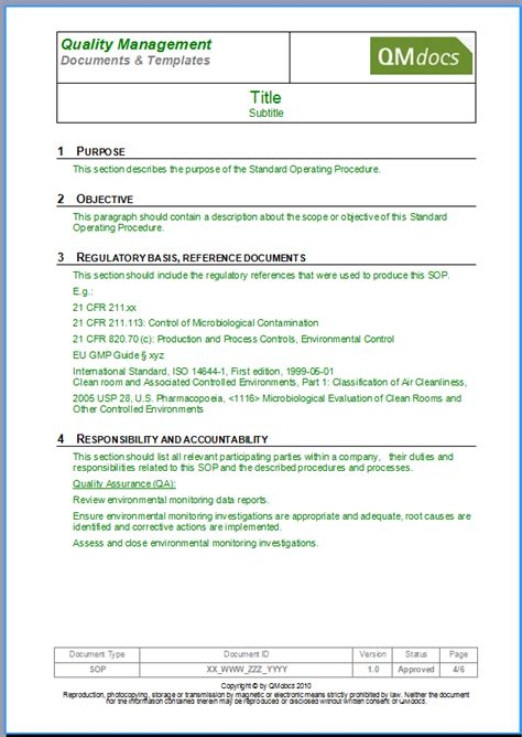 standard operating procedures template standard operating procedure template sop template form