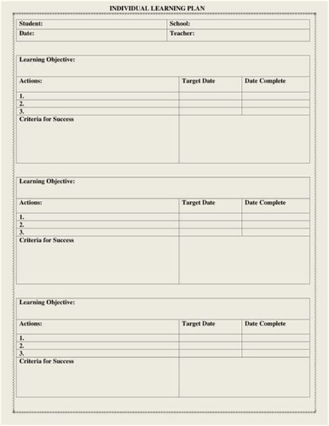 Individual Learning Plan Template For Elementary Students individual learning plan template by moedonnelly