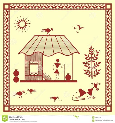 3d House Plans Indian Style indian tribal painting warli painting of a house stock