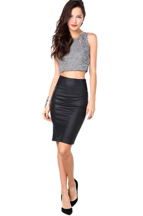 pleather pencil skirt in black my style
