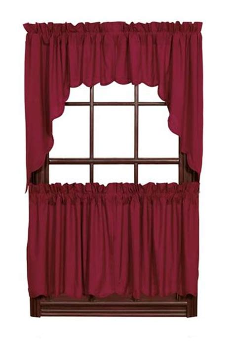 Burgundy Swag Curtains Burgundy Solid Swag Window Toppers
