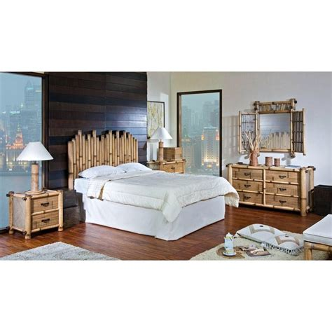 bamboo bedroom furniture hospitality rattan 4 pc set 712 b q havana bamboo 4 piece