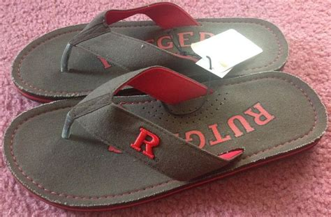 canvas rutgers rutgers scarlet knights zori flip flops sandals brown