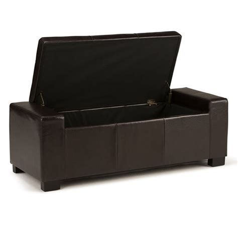 brown leather storage bench faux leather storage bench in brown 3axc ott231
