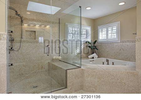 Large Glass Shower Modern Master Bath With Large Glass Shower Stock Photo