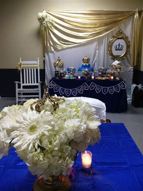 welcome royal prince baby shower blue gold flower and