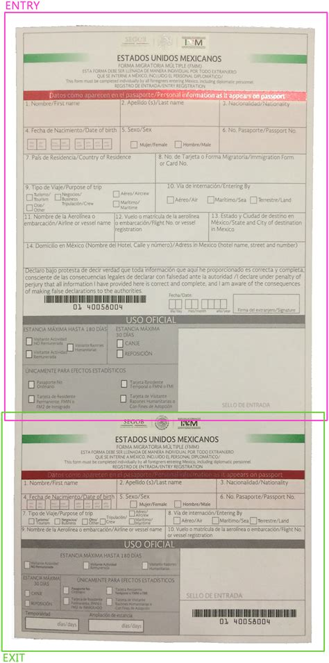 Immigration Registration Card Template by When Traveling To Mexico What Forms Do I Need To Fill Out