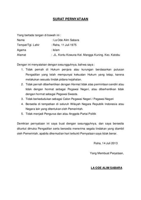 contoh surat pernyataan cpns contoh raffa