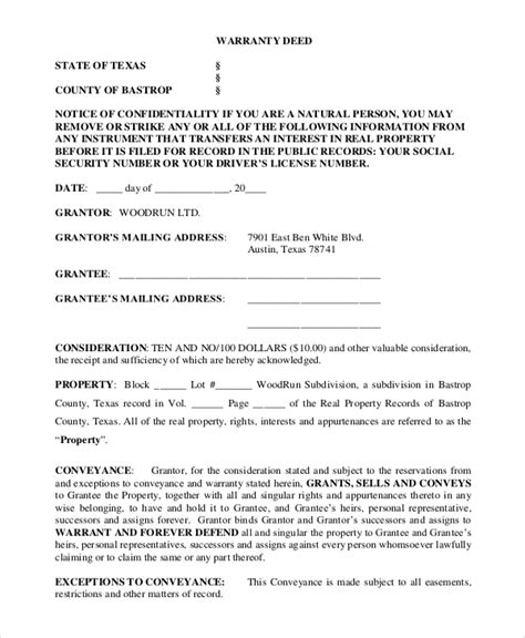 house title general warranty deed sle 9 exles in word pdf