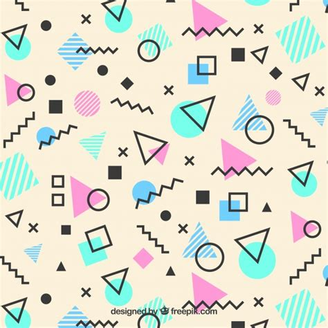 shape pattern free memphis pattern of geometric shapes vector free download