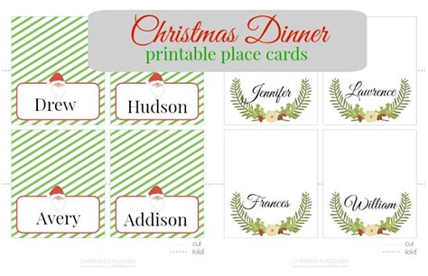 dinner place cards template jolly gifts recipes printables more