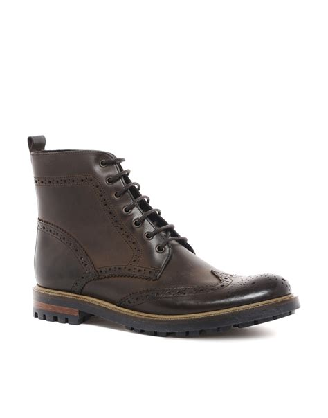 mens brown leather brogue boots asos brogue boots in leather in brown for lyst