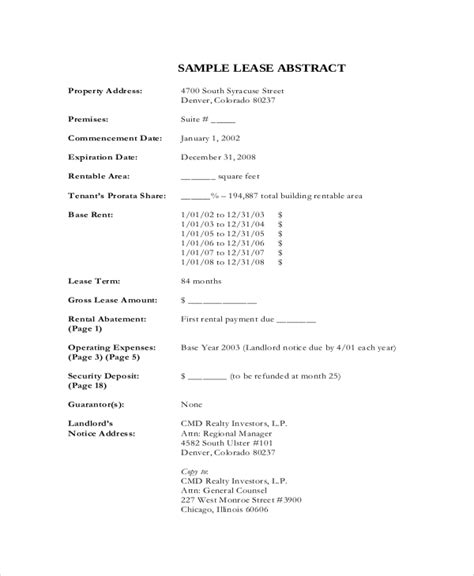 lease abstract template lease template 20 free word pdf documents free premium templates