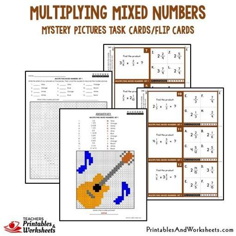 printable mixed number cards multiplying mixed numbers mystery picture cards with