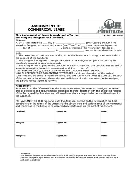 assignment of lease template assignment of commercial lease free