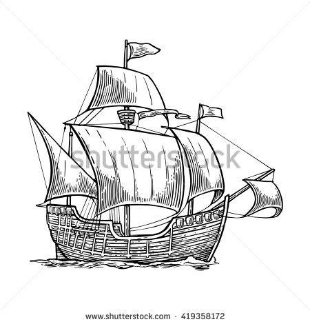 boat crashing drawing drawn sailing ship sketch pencil and in color drawn
