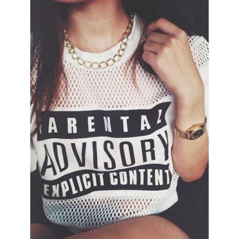 Tshirt White Parental Advisory t shirt advisory white mesh mesh parental