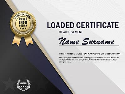 Loaded Certificate A Powerpoint Template From Presentermedia Com Powerpoint Certificate Of Achievement Template