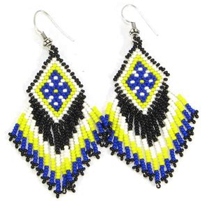 02a019rcrystal Pieces Geometric Earrings Yellow White blue white yellow geometric lariat bib necklace earrings bead jewelry