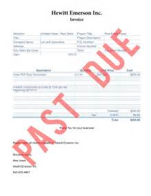 Past Due Invoice   printable invoice template