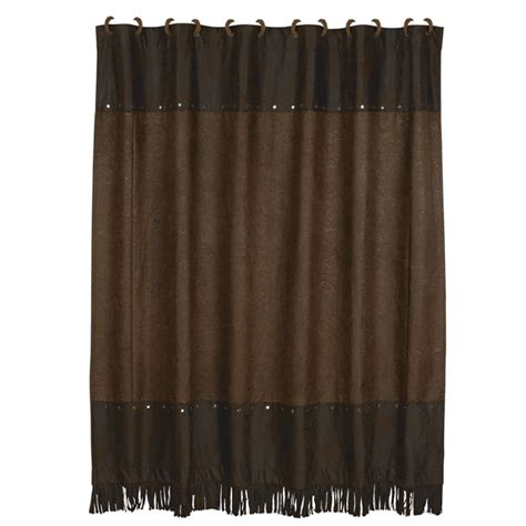 leather curtains drapes faux tooled leather shower curtain