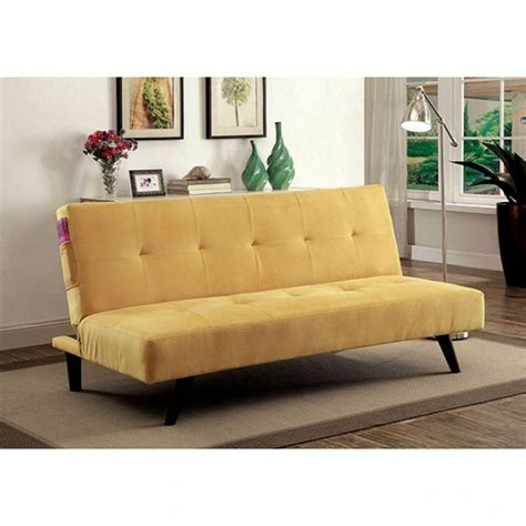 Yellow Futon by Contemporary Style Tufted Cushions Yellow