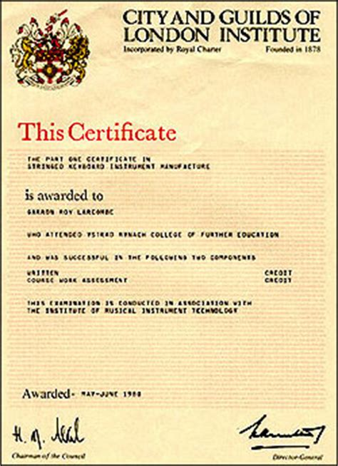 city and guilds certificate template garron r larcombe certified piano tuner technician 30