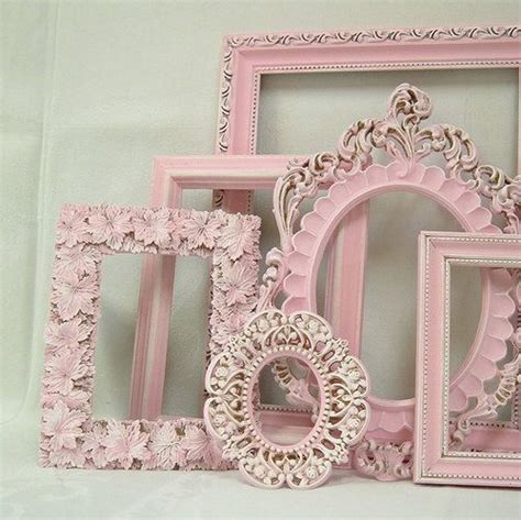 shabby chic picture frame pastel pink picture frame set ornate frames wedding nursery shabby
