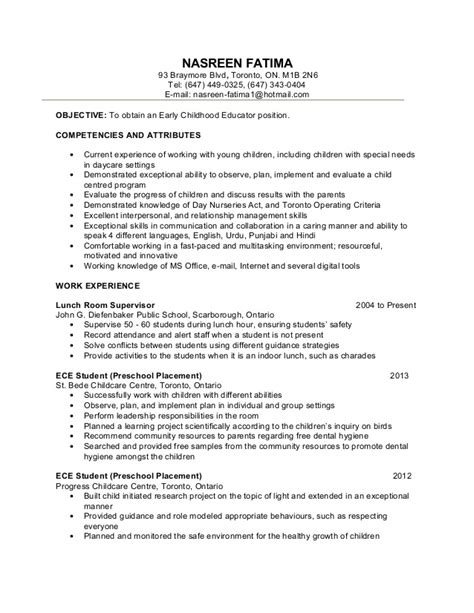 Resume Template Education Early Childhood Education Resume Sles Sle Resumes