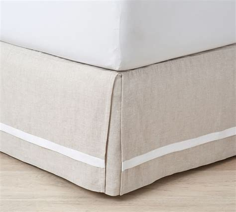 pottery barn bed skirts belgian flax linen contrast flange bed skirt pottery barn