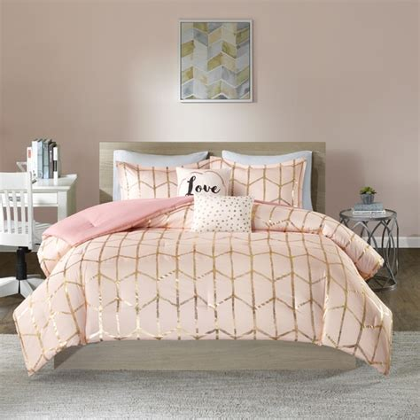 blush bedding sets intelligent design khloe blush printed metallic dot gold