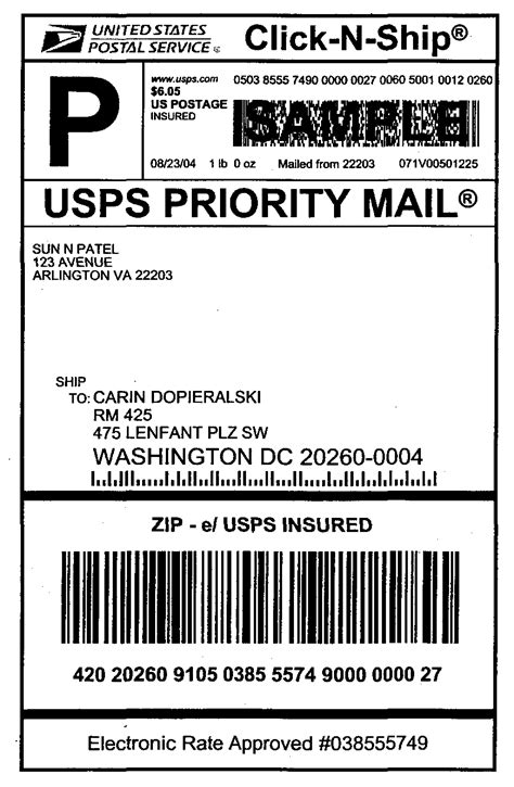usps label template domestic mail manual s913 insured mail
