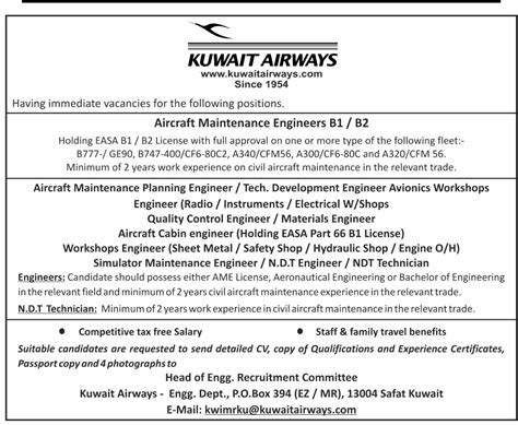 Offer Letter Kuwait In Kuwait Airways As Engineers And Technicians Portal