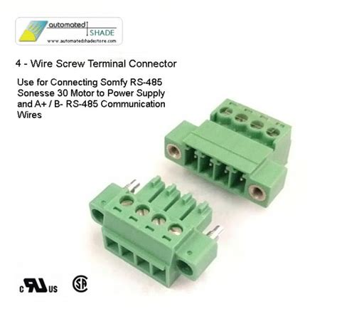 wire to wire power connector low voltage 4 wire shade motor power connector automated