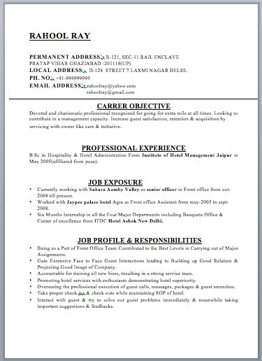 resume format hotel management hotel manager resume free template downloads