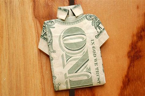 T Shirt Dollar Bill Origami - how to make a shirt out of a one dollar bill