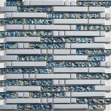 silver glass mosaic blue glass tiles backsplash ssmt130