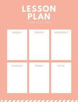 week at a glance lesson plan template printable week at a glance lesson plan template by
