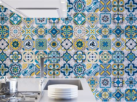 colorful tile decals pack of 25 moonwallstickers