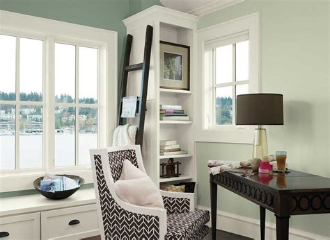 Office Painting Ideas Green Wall Paint Color Theme Benjamin Moore Interior Paint