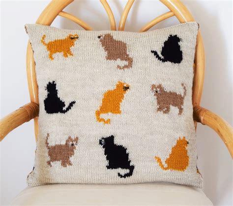 cat motif knitting pattern cat cushion knitting pattern cat pillow knitting pattern