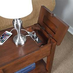Side Tables With Plugs by Device Charging End Table The Green Head