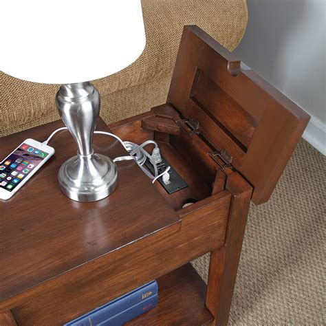 side table with outlets device charging end table the green head