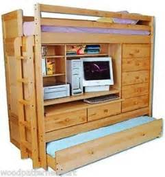 Bunk Bed With Closet by Bunk Bed Paper Patterns Loft All In1 W Trundle Desk Chest