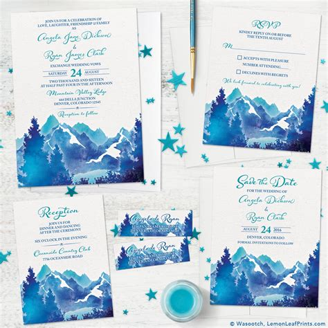 blue mountain wedding invitations turquoise royal blue watercolor mountain wedding