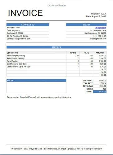 25 Free Service Invoice Templates Billing In Word And Excel Service Call Invoice Template