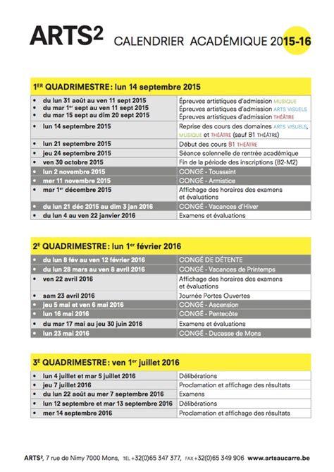 Calendrier Academique Renseignements Pratiques Calendrier Acad 233 Mique Arts 178