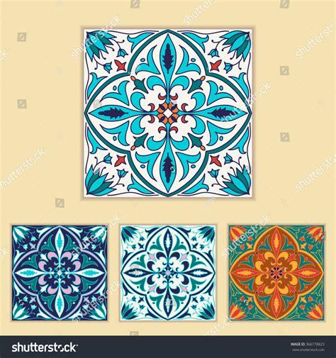 design elements tile vector portuguese tile design four different stock vector