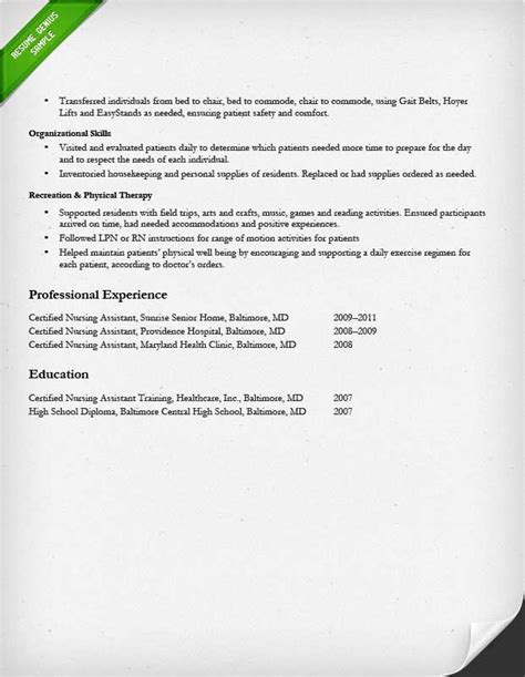 Certified Nursing Assistant Student Resume Nursing Resume Sle Writing Guide Resume Genius
